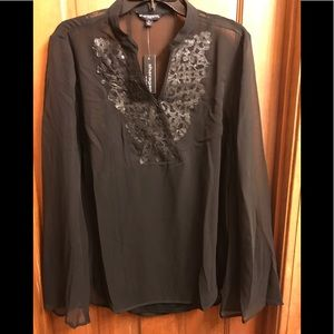 Sheer black top, camisole. Sharagano. Size XL.
